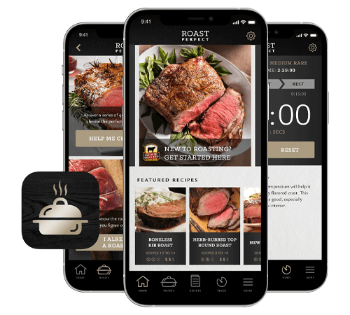 Roast Perfect App open on mobile devices