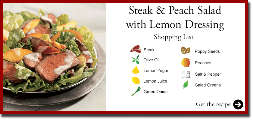 Certified Angus Beef Sirloin Peach Salad with Lemon Dressing