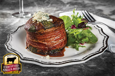 Blue Cheese Stuffed, Bacon and Sage Wrapped Filet recipe provided by the Certified Angus Beef® brand.