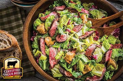 Steak Caesar Salad recipe provided by the Certified Angus Beef® brand.