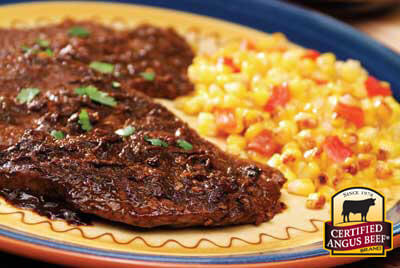 Top Sirloin with Ancho-Serrano Pepper Sauce recipe provided by the Certified Angus Beef® brand.
