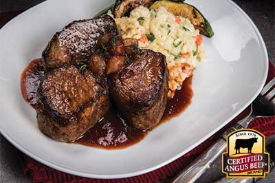 Sautéed Medallions with Pearl Onion Red Wine Sauce recipe provided by the Certified Angus Beef® brand.