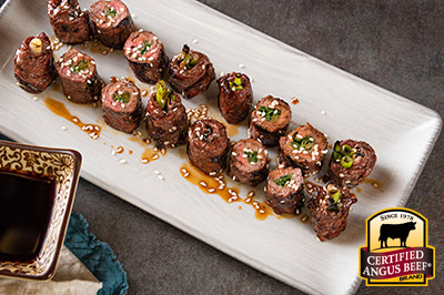 Beef & Scallion Rolls (Negimaki) recipe provided by the Certified Angus Beef® brand.