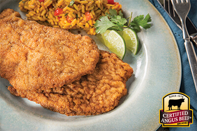 Thin-sliced Breaded Top Round Cutlets (Milanesa) recipe provided by the Certified Angus Beef® brand.