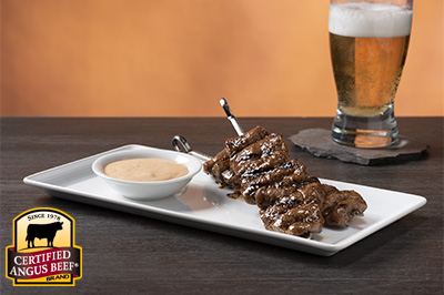Quick Sirloin Skewers with Chipotle Dipping Sauce recipe provided by the Certified Angus Beef® brand.