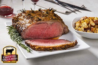 Garlic & Rosemary Studded Strip Roast recipe provided by the Certified Angus Beef® brand.