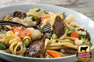 Beef Pasta Primavera recipe provided by the Certified Angus Beef® brand.