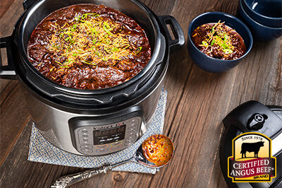 Instant Pot Texas-Style Chili  recipe provided by the Certified Angus Beef® brand.
