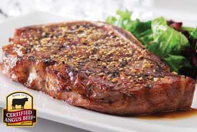 Strip Steaks with Three Pepper Rub recipe provided by the Certified Angus Beef® brand.