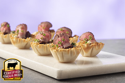 Tenderloin Phyllo Cups with Blue Cheese and Caramelized Onion Jam recipe provided by the Certified Angus Beef® brand.