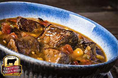 Cowboy Beef and Hominy Stew recipe provided by the Certified Angus Beef® brand.