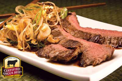 Sesame Flank Steak with Asian Noodles recipe provided by the Certified Angus Beef® brand.