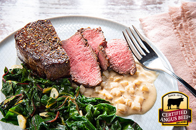 Pan Roasted Filet with Apple-Dijon White Wine Sauce  recipe provided by the Certified Angus Beef® brand.