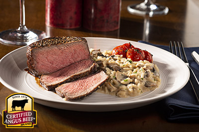 Steak with Mushroom Risotto recipe provided by the Certified Angus Beef® brand.