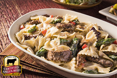 Beef and Bowtie Alfredo recipe provided by the Certified Angus Beef® brand.