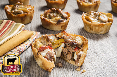 Philly Cheese Steak Cups recipe provided by the Certified Angus Beef® brand.