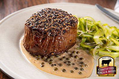 Filet Mignon au Poivre   recipe provided by the Certified Angus Beef® brand.