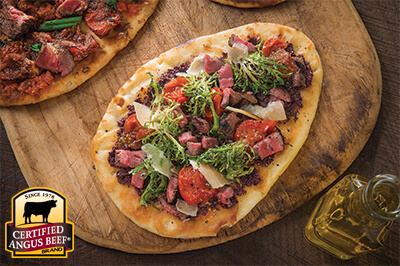 Mediterranean Steak Flatbread recipe provided by the Certified Angus Beef® brand.