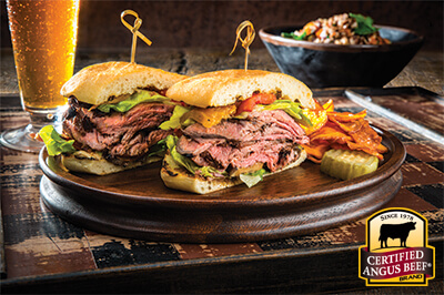 Pesto Pepper Steak Sandwich recipe provided by the Certified Angus Beef® brand.
