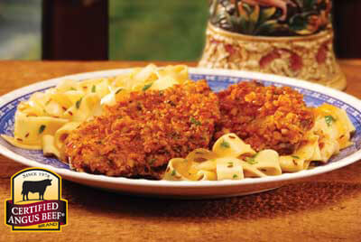 Pretzel Dusted Schnitzel with Sweet Onion Caraway Noodles recipe provided by the Certified Angus Beef® brand.