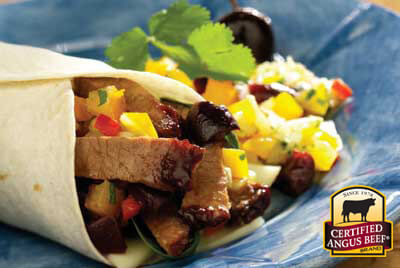 Brisket Wrap with Cherry Salsa recipe provided by the Certified Angus Beef® brand.