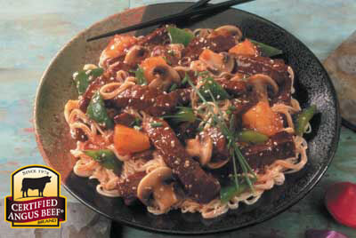 Sweet and Sour Beef Lo Mein recipe provided by the Certified Angus Beef® brand.