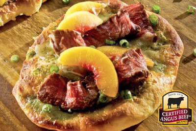Sirloin and Peach Pizzas recipe provided by the Certified Angus Beef® brand.