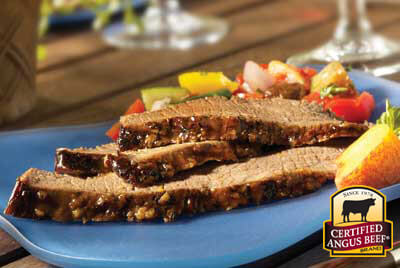 Smoked Brisket with Spicy Peach Sauce recipe provided by the Certified Angus Beef® brand.