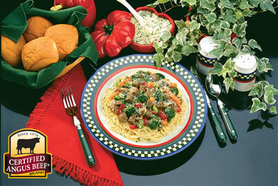 Angel Hair Pasta with Beef & Vegetables recipe provided by the Certified Angus Beef® brand.