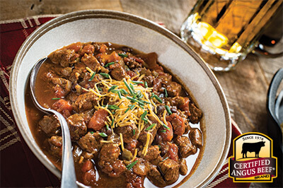 Game Day Steak Chili recipe provided by the Certified Angus Beef® brand.