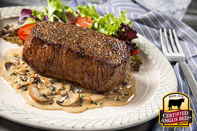 Seared Sirloin Steak with Mushroom Cream Sauce recipe provided by the Certified Angus Beef® brand.