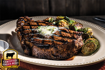 Grilled Ribeye Steak with Herbed Steak Butter recipe provided by the Certified Angus Beef® brand.