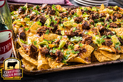 Pressure Cooker/Instant Pot Dr. Pepper Barbecue Nachos recipe provided by the Certified Angus Beef® brand.