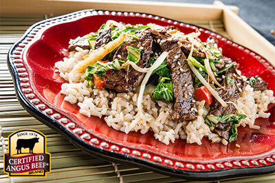 Japanese-style Sirloin Rice Bowl recipe provided by the Certified Angus Beef® brand.