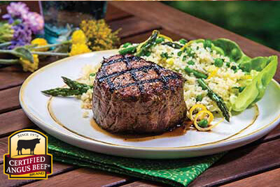 Spring Revival Couscous Salad with Filet Mignon recipe provided by the Certified Angus Beef® brand.