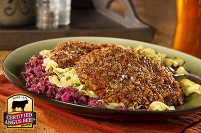 Pretzel Crusted Schnitzel recipe provided by the Certified Angus Beef® brand.