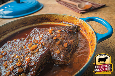 Barbecue Braised Brisket recipe in le creuset dutch oven
