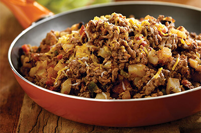 South-of-the-Border Beef Hash recipe provided by the Certified Angus Beef® brand.