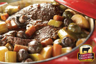 Slow Cooker Braised Pot Roast With Root Vegetables recipe provided by the Certified Angus Beef® brand.