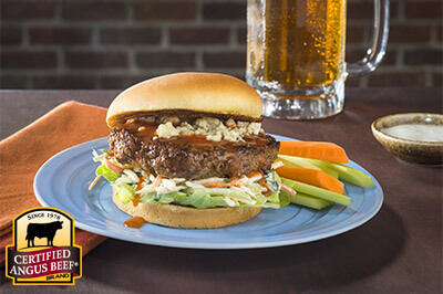 Buffalo-Style Hot Sauce Burgers recipe provided by the Certified Angus Beef® brand.