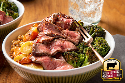 London Broil Protein Bowl recipe provided by the Certified Angus Beef® brand.