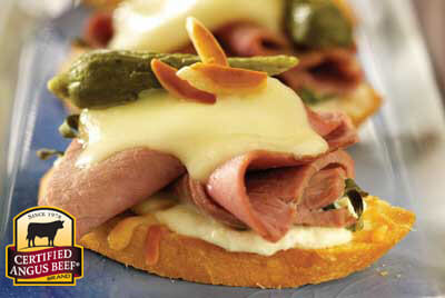 Sirloin Steak Crostini recipe provided by the Certified Angus Beef® brand.