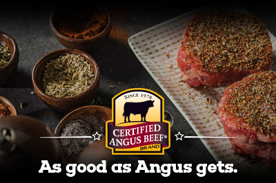 Seared Ranch Steaks with Roasted Rosemary Potatoes & Red Peppers recipe provided by the Certified Angus Beef® brand.