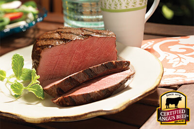 Grilled Filet with Watermelon and Bibb Salad recipe provided by the Certified Angus Beef® brand.