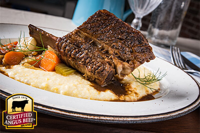 Balsamic Braised Short Ribs with Creamy Pecorino Polenta recipe provided by the Certified Angus Beef® brand.