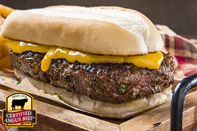 Philly Cheesesteak Burger recipe provided by the Certified Angus Beef® brand.