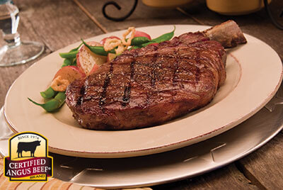 """Cowboy"" Ribeyes with Steamed Guinness French Onion Green Beans recipe provided by the Certified Angus Beef® brand."
